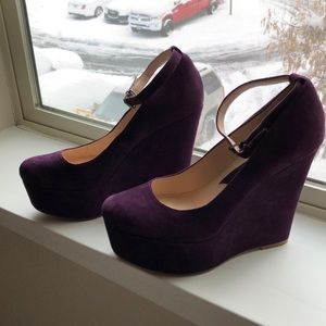 Purple Suede Wedges